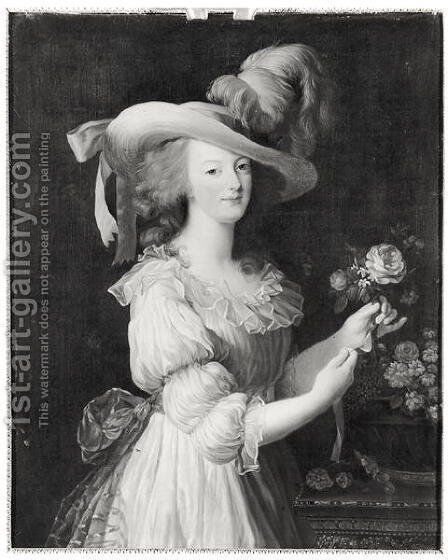 Copy of a Portrait of Marie-Antoinette 1755-93 after 1783 by Elisabeth Vigee-Lebrun - Reproduction Oil Painting