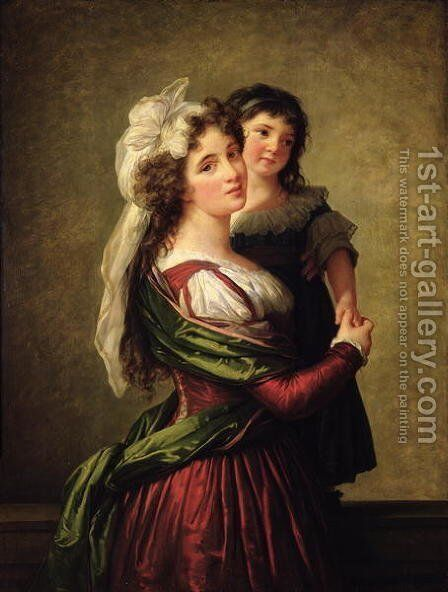 Madame Rousseau and her Daughter, 1789 by Elisabeth Vigee-Lebrun - Reproduction Oil Painting