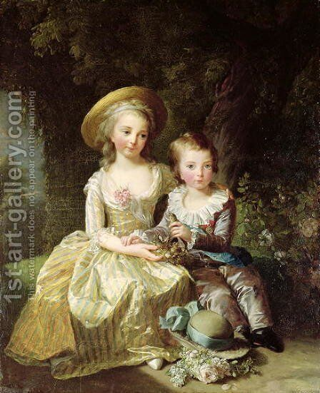 Child portraits of Marie-Therese-Charlotte of France 1778-1851, future Duchess of Angouleme, and Louis-Joseph-Xavier of France 1781-89 Premier Dauphin, 1784 by Elisabeth Vigee-Lebrun - Reproduction Oil Painting
