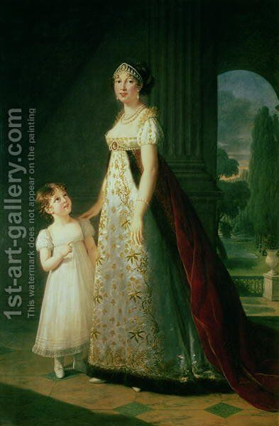Maria Carolina Bonaparte 1782-1839 Queen of Naples with her daughter Laetitia Murat, 1807 by Elisabeth Vigee-Lebrun - Reproduction Oil Painting