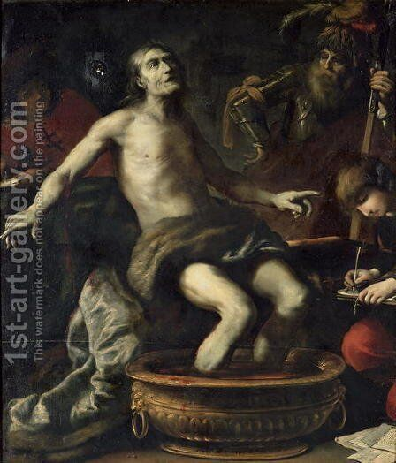 The Death of Seneca, 1633 by Claude Vignon - Reproduction Oil Painting