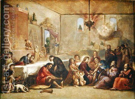 Christ Washing the Disciples Feet, 1653 by Claude Vignon - Reproduction Oil Painting