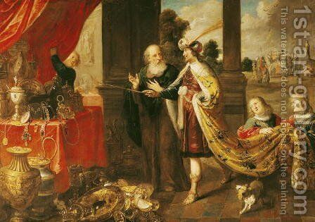 Ahasuerus Showing his Treasure to Mordecai by Claude Vignon - Reproduction Oil Painting