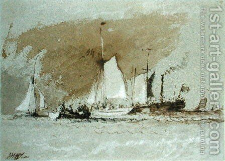 Fishing Boats at Sea, boarding a Steamer off the Isle of Wight by Turner - Reproduction Oil Painting