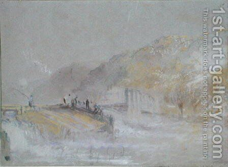 Foul by God River Landscape with Anglers Fishing from a Weir, c.1830 by Turner - Reproduction Oil Painting