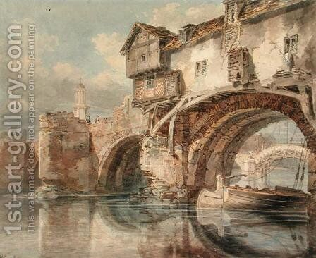 Old Welsh Bridge, Shrewsbury, 1794 by Turner - Reproduction Oil Painting