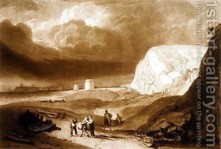 Martello Towers near Bexhill, Sussex, from the Liber Studiorum, engraved by William Say, 1811 by Turner - Reproduction Oil Painting