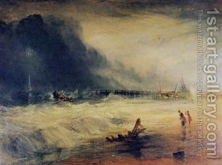 Lifeboat and Manby Apparatus going off to a stranded vessel making signal blue lights of distress , c.1831 by Turner - Reproduction Oil Painting