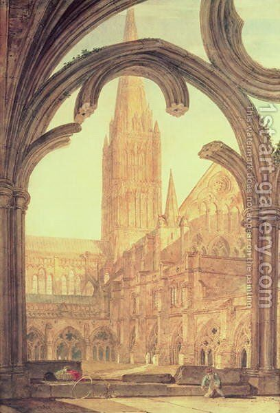 South View of Salisbury Cathedral from the Cloisters by Turner - Reproduction Oil Painting
