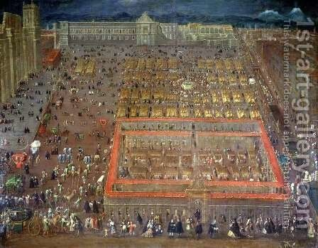 Central Square of Mexico City, 1695 by Cristobal de Villalpando - Reproduction Oil Painting