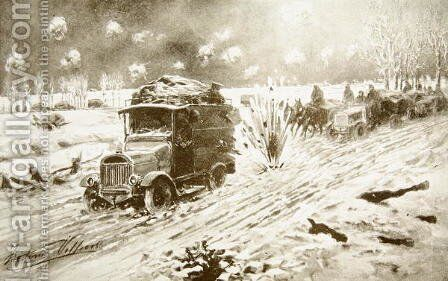 British Transport train making its way under heavy shell fire along the snow-bound Ypres roads by (after) Villiers, Frederic - Reproduction Oil Painting