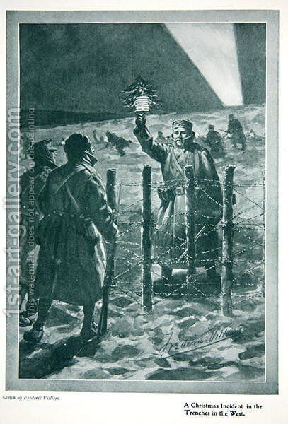 The Christmas Day Truce of 1914, from The Year 1915: a Record of Notable Achievements and Events, 1915 by (after) Villiers, Frederic - Reproduction Oil Painting