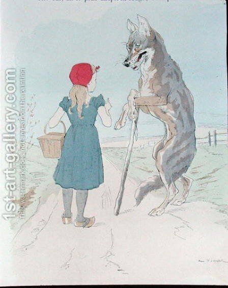 Illustration for Little Red Riding Hood by Charles Perrault (1628-1703) by A. Vimar - Reproduction Oil Painting