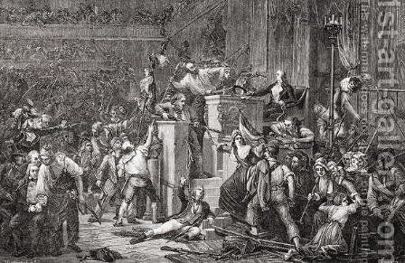 The Head of Feraud at the Tribunal, 20 May 1795, Year III, engraved by Jonnard from Histoire de la Revolution Francaise by Louis Blanc 1811-82 by Auguste Jean-Baptiste Vinchon - Reproduction Oil Painting
