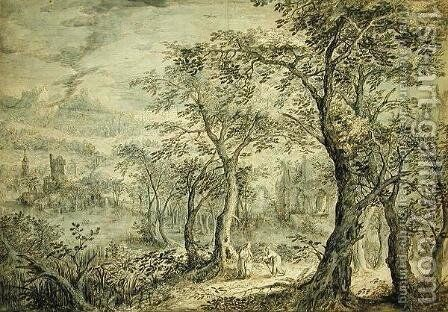 Wooded Landscape with the Temptation of Christ by David Vinckboons - Reproduction Oil Painting