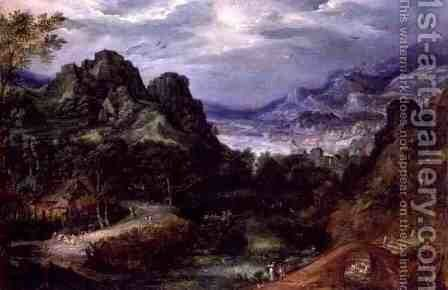 Mountainous landscape with dancing peasants by David Vinckboons - Reproduction Oil Painting