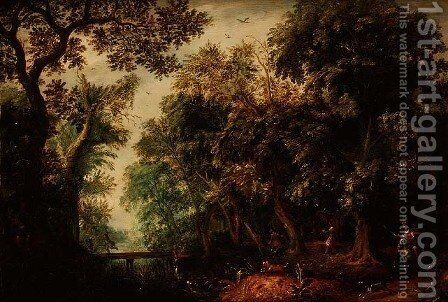 A Stag Hunt in a forest by David Vinckboons - Reproduction Oil Painting