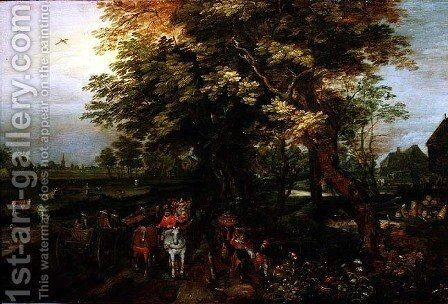 Wooded Landscape with Peasants by David Vinckboons - Reproduction Oil Painting