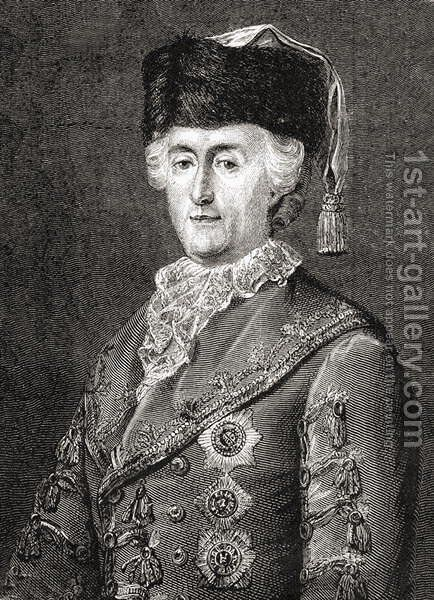 Catherine II, engraved by Stephane Pannemaker 1847-1930 from Histoire de la Revolution Francaise by Louis Blanc 1811-82 by (after) Viollat, Eugene Joseph - Reproduction Oil Painting