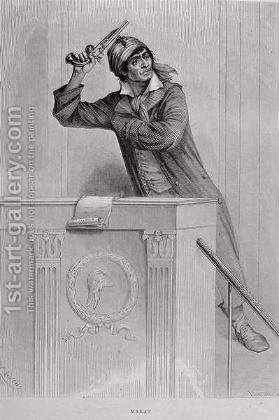 Jean Paul Marat 1743-93 Inciting Revolution, engraved by Stephane Pannemaker 1847-1930 by (after) Viollat, Eugene Joseph - Reproduction Oil Painting