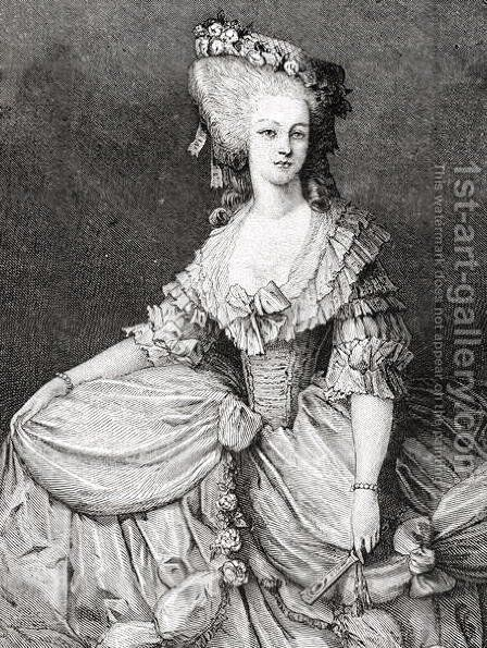 Portrait of Marie Therese Louise, Princesse de Lamballe 1749-92 engraved by Stephane Pannemaker 1847-1930 by (after) Viollat, Eugene Joseph - Reproduction Oil Painting