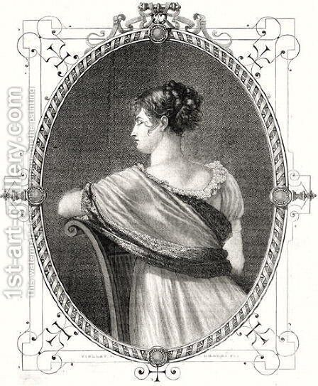Portrait of Madame Recamier 1777-1849 engraved by Antoine Auguste Ernest Hebert 1817-1908 by (after) Viollat, Eugene Joseph - Reproduction Oil Painting