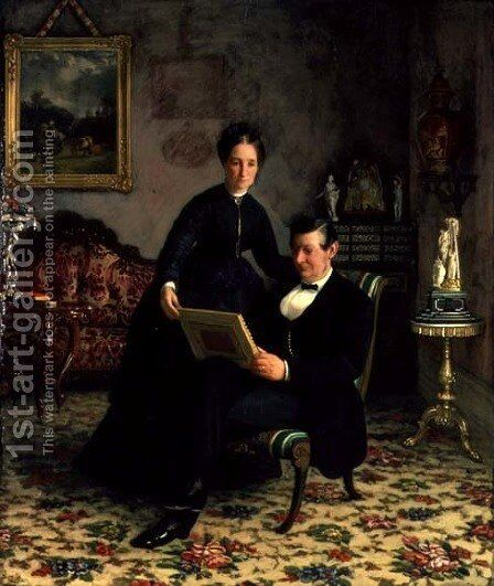 Mr Robert Constantin and Mrs Maria Eleonora Berggren by Gottfrid Virgin - Reproduction Oil Painting
