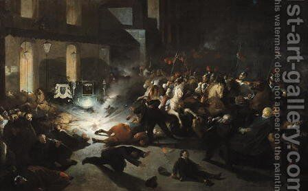 The Attempted Assassination of Emperor Napoleon III (1808-73) by Felice Orsini 1819-59 on the 14th January 1858, 1862 by H. Vittori Romano - Reproduction Oil Painting