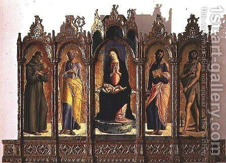 Polyptych depicting central panel Madonna and Child Enthroned, St. Dominic and St. Peter left hand panels, St. Paul and St. John the Baptist right hand panels, 1476 by Alvise Vivarini - Reproduction Oil Painting