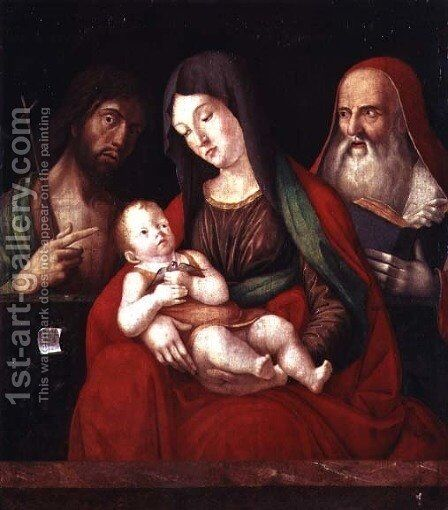 Virgin and Child with St. John the Baptist and St. Jerome by Alvise Vivarini - Reproduction Oil Painting