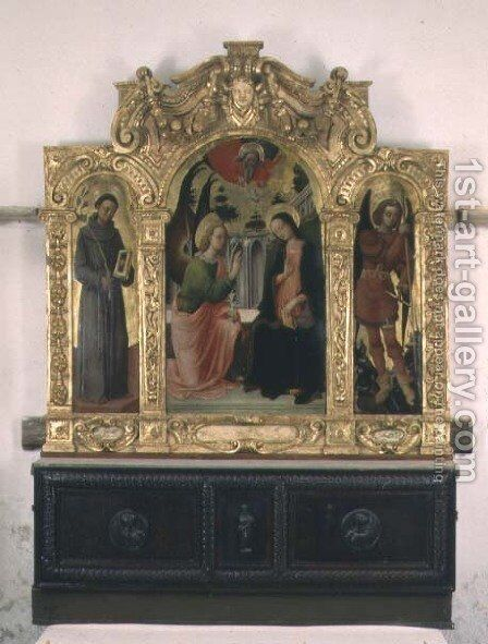 The Annunciation with SS. Francis and Michael by Antonio Vivarini - Reproduction Oil Painting