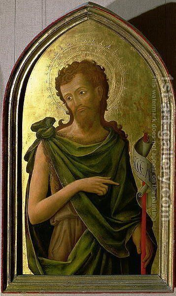 St. John the Baptist, panel from a polyptych removed from the church of St. Francesco in Padua, 1451 by Antonio Vivarini - Reproduction Oil Painting