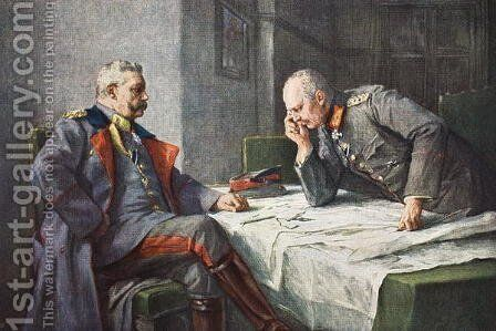 General von Hindenburg and Chief of Staff Erich von Ludendorff at the map table by Hugo Vogel - Reproduction Oil Painting