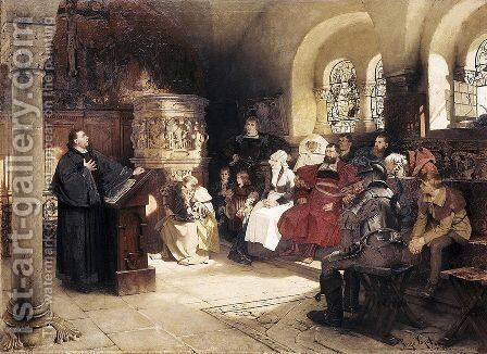 Luther Preaches using his Bible Translation while Imprisoned at Wartburg, 1882 by Hugo Vogel - Reproduction Oil Painting
