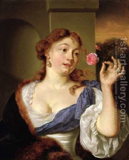 The Lady with a Rose by Arie de Vois - Reproduction Oil Painting
