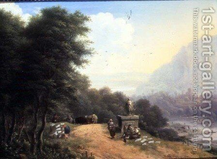 Landscape with laundry women by Johann Christian Vollerdt or Vollaert - Reproduction Oil Painting