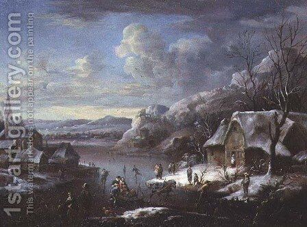 Winter Scene with Numerous Figures by Johann Christian Vollerdt or Vollaert - Reproduction Oil Painting