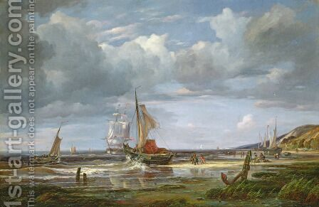 The Elbe at Blankenesee, 1844 by Adolf Vollmer - Reproduction Oil Painting