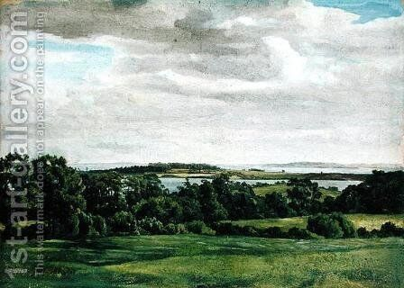 Landscape in Holstein, 1827 by Adolf Vollmer - Reproduction Oil Painting