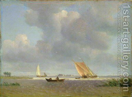 A fresh breeze on the Elbe, c.1830 by Adolf Vollmer - Reproduction Oil Painting