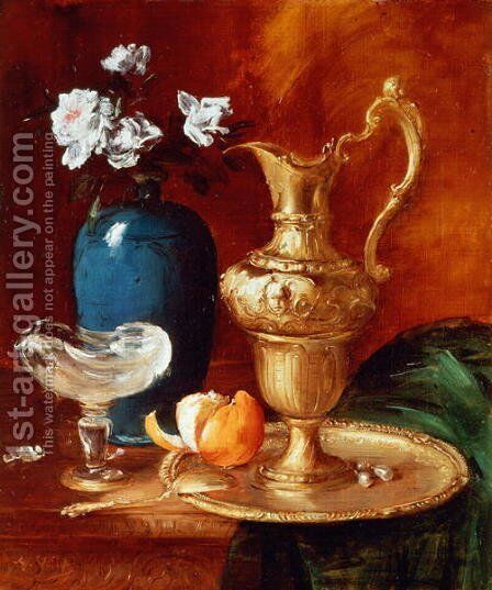 Still life of a gilt ewer, vase of flowers and a facon de Venise bowl by Antoine Vollon - Reproduction Oil Painting