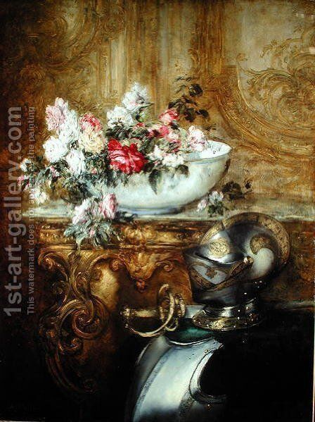 Still Life of a Bowl of Flowers by Antoine Vollon - Reproduction Oil Painting