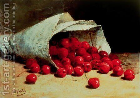A spilled bag of cherries by Antoine Vollon - Reproduction Oil Painting