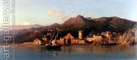 View of Taormina, Sicily, with Mount Etna in the background, 1868 by Alessandro la Volpe - Reproduction Oil Painting