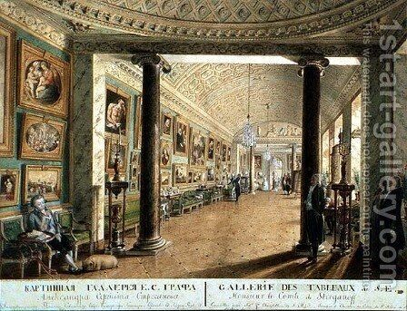 The Picture Gallery in the Stroganov Palace in St. Petersburg, 1793 by Andrei Nikiforovich Voronikhin - Reproduction Oil Painting