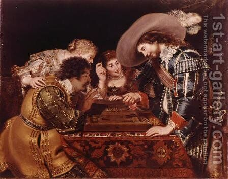 The Game of Backgammon by Cornelis De Vos - Reproduction Oil Painting