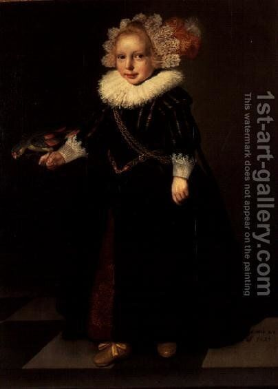 Girl wearing a black dress with feather head dress by Cornelis De Vos - Reproduction Oil Painting
