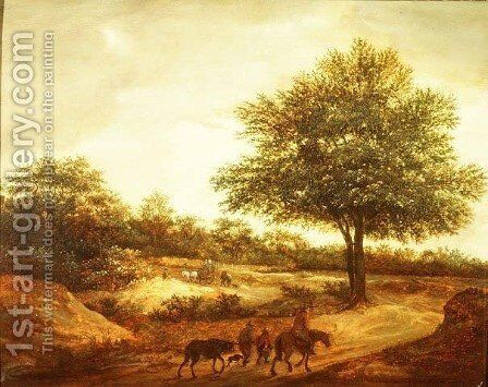 A wooded landscape with travellers on a path, a cottage beyond by Guillam de Vos - Reproduction Oil Painting