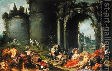 The Works of Mercy, c.1630-40 by Simon de Vos - Reproduction Oil Painting