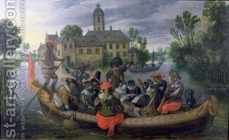 The Boating Party, Satirical Scene with Cats and Monkeys as Humans by Sebastien Vrancx - Reproduction Oil Painting